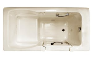 JACUZZI® Finestra® 60 x 30 in. 10-Jet Acrylic Rectangle Alcove Whirlpool Bathtub with Left Drain and Manual On or Off in Almond JFIN6030WLR1HXA