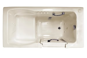 JACUZZI® Finestra® 60 x 36 in. 10-Jet Acrylic Rectangle Alcove Spa Combination Bathtub with Right Drain and Manual On or Off in Almond JFIN6036CRL1CHA
