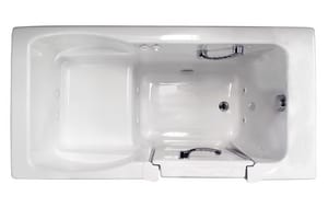 JACUZZI® Finestra® 60 x 30 in. 10-Jet Acrylic Rectangle Alcove Whirlpool Bathtub with Right Drain and Manual On or Off in White JFIN6030WRL1HXW