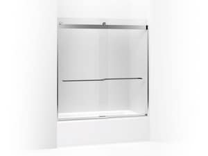 Kohler Levity® 62 in. Sliding Bath Door with Crystal Clear Glass and Square Towel Bar in Bright Polished Silver K706007-L-SHP