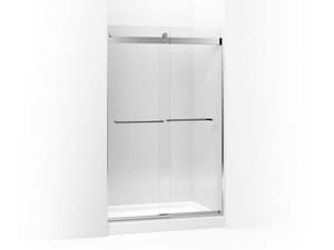 KOHLER Levity® 59-5/8 x 74-1/4 in. Sliding Crystal Clear Glass Shower Door with Blade Handle in Bright Polished Silver K706167-L-SHP
