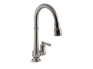 KOHLER Artifacts® Single Handle Pull Down Kitchen Faucet in Vibrant® Stainless K99260-VS