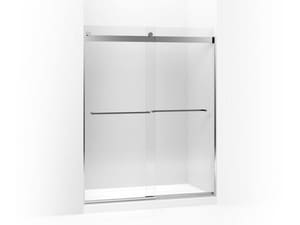 Kohler Levity® 74 x 59-5/8 in. Sliding Shower Door with Crystal Clear Tempered Glass and Square Towel Bar in Bright Polished Silver KOH706018-L-SHP