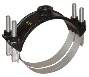 Ford Meter Box 6 in. CC Stainless Steel Band Iron Double Strap Saddle FFSD202760CC