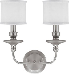 Capital Lighting Fixture Midtown 2-Light Wall Sconce in Matte Nickel with Decorative Fabric Glass Shade C1232MN451