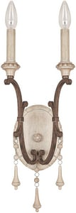 Capital Lighting Fixture Chateau 2-Light Wall Sconce in French Oak with Glass Shade C1607FO