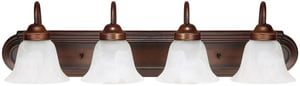 Capital Lighting Fixture Vanity 7-3/4 in. 100W 4-Light Vanity Fixture with White Faux Alabaster Glass Shade C1034118