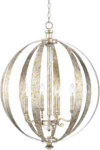 Capital Lighting Fixture Charleston 60W 4-Light Candelabra E-12 Base Incandescent Pendant in Silver and Gold Leaf C313341SG