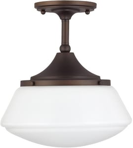 Capital Lighting Fixture 11-1/2 in. 75W 1-Light Medium E-26 Incandescent Ceiling Light with Soft White Glass in Burnished Bronze C3533BB129