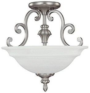 Capital Lighting Fixture Chandler 16 in. 3-Light Semi-Flushmount Ceiling Fixture in Matte Nickel with White Faux Alabaster Glass Shade C3071MN