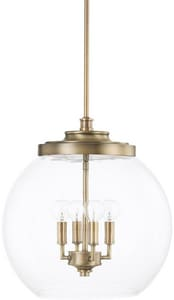 Capital Lighting Fixture Mid-Century 60W 4-Light Pendant in Aged Brass C321142AD
