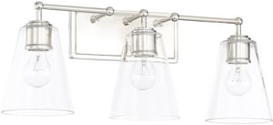Capital Lighting Fixture Vanity 100W 3-Light Vanity with Clear Glass in Polished Nickel C121731PN431