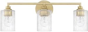 Capital Lighting Fixture Vanity 100W 3-Light Vanity with Ice Glass in Capital Gold C120531CG422