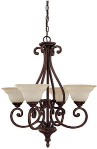 Capital Lighting Fixture Chandler 100W 4-Light Medium Incandescent Chandelier in Burnished Bronze with Mist Scavo Glass Shade C3074BB292