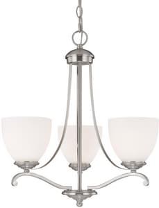 Capital Lighting Fixture Chapman 100W 3-Light Medium Incandescent Chandelier in Matte Nickel with Soft White Glass Shade C3944202