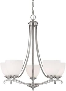 Capital Lighting Fixture Chapman 100W 5-Light Medium Incandescent Chandelier in Matte Nickel with Soft White Glass Shade C3945202
