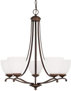 Capital Lighting Fixture Chapman 100W 5-Light Medium Incandescent Chandelier in Burnished Bronze with Soft White Glass Shade C3945BB202