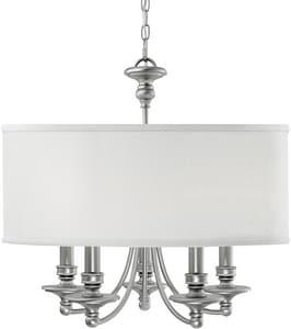 Capital Lighting Fixture Midtown 60W 5-Light Candelabra Incandescent Chandelier in Matte Nickel with Decorative Fabric Glass Shade C3915455