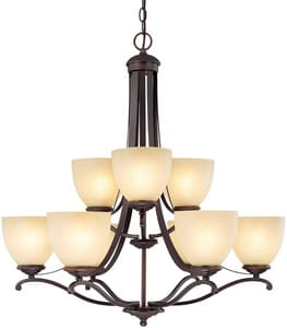 Capital Lighting Fixture Chapman 60W 9-Light Medium Incandescent Chandelier in Burnished Bronze with Tumbleweed Glass Shade C3949BB201