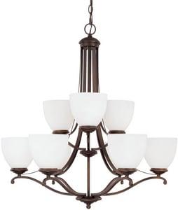 Capital Lighting Fixture Chapman 60W 9-Light Medium Incandescent Chandelier in Burnished Bronze with Soft White Glass Shade C3949BB202