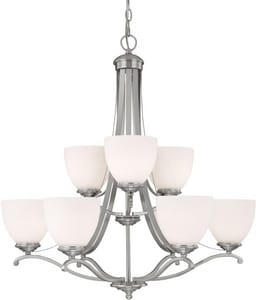 Capital Lighting Fixture Chapman 60W 9-Light Medium Incandescent Chandelier in Matte Nickel with Soft White Glass Shade C3949202