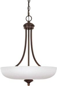 Capital Lighting Fixture Chapman 17-1/2 in. 100W 3-Light Medium E-26 Incandescent Pendant Light in Burnished Bronze C3948BBSW