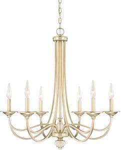 Capital Lighting Fixture Windsor 60W 6-Light Incandescent Candelabra E-12 B10 Chandelier in Soft Gold C413861SF