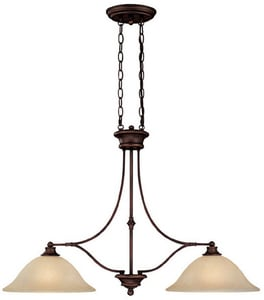 Capital Lighting Fixture Belmont 24 in. 100W 2-Light Island Fixture in Burnished Bronze with Mist Scavo Glass Shade C3417BB