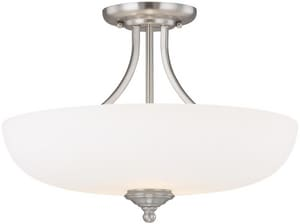 Capital Lighting Fixture Chapman 12 in. 3-Light Semi-Flushmount Ceiling Fixture in Matte Nickel with Soft White Glass Shade C3947MNSW