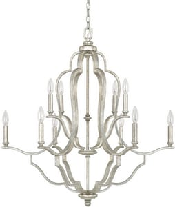 Capital Lighting Fixture Blair 34-1/2 in. 10-Light Candelabra E-12 Base Chandelier in Antique Silver C4940AS000