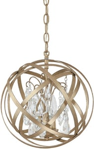 Capital Lighting Fixture Axis 13-1/4 in. 3-Light Pendant in Winter Gold with Crystals Included C4233WGCR