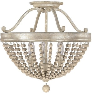 Capital Lighting Fixture Adele 16 in. 60W 3-Light Incandescent Candelabra E-12 Ceiling Light in Silver Quartz C4444SQ