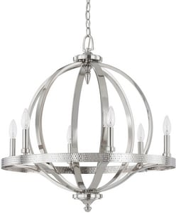 Capital Lighting Fixture Brayden 26-1/2 in. 6-Light Candelabra E-12 Base Incandescent Pendant in Polished Nickel C4906PN