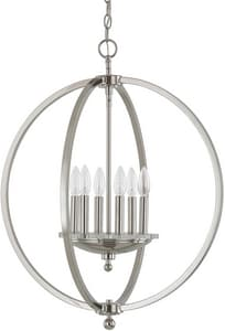 Capital Lighting Fixture Perry 28-1/2 in. 6-Light Pendant in Polished Nickel C4866PN