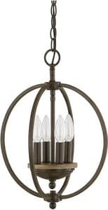 Capital Lighting Fixture Perry 18 in. 4-Light Candelabra E-12 Base Incandescent Pendant in Bronze and Oak C4864BA