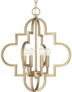 Capital Lighting Fixture Ellis 20-1/4 in. 4-Light Candelabra Pendant in Brushed Gold C4541BG
