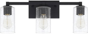 Capital Lighting Fixture Ravenwood 100W 3-Light Vanity with Clear Seeded Glass in Black Iron C119831BI435
