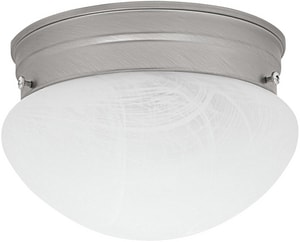 Capital Lighting Fixture 4 x 7 in. 60 W 1-Light Medium Flush Mount Ceiling Fixture with Faux White Alabaster Glass in Matte Nickel C5676MN