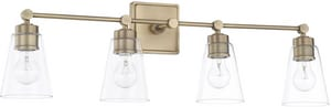 Capital Lighting Fixture Vanity 100W 4-Light Medium E-26 Incandescent Vanity Fixture in Aged Brass C121841AD432