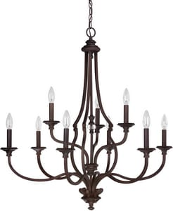 Capital Lighting Fixture Leigh 36 in. 9-Light Candelabra E-12 Base Chandelier in Burnished Bronze C4709BB000