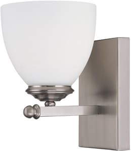 Capital Lighting Fixture Chapman 1-Light Wall Sconce in Matte Nickel with Soft White Glass Shade C8401MN202