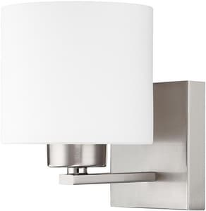 Capital Lighting Fixture Steele 1-Light Wall Sconce in Brushed Nickel with Soft White Glass Shade C8491103