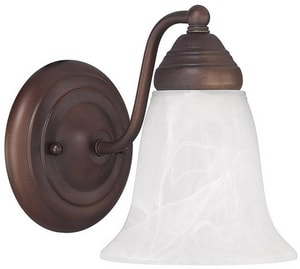 Capital Lighting 8 in. 100W 1-Light Medium E-26 Incandescent Wall Sconce in Burnished Bronze C1361BB117