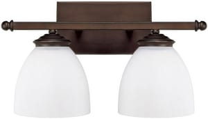 Capital Lighting Fixture Chapman 9 in. 100W 2-Light Vanity Fixture in Burnished Bronze with Soft White Glass Shade C8402BB202