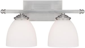 Capital Lighting Fixture Chapman 9 in. 100W 2-Light Vanity Fixture in Matte Nickel with Soft White Glass Shade C8402MN202