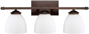 Capital Lighting Fixture Chapman 9 in. 100W 3-Light Vanity Fixture in Burnished Bronze with Soft White Glass Shade C8403BB202