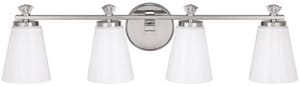 Capital Lighting Fixture Alisa 7-3/4 in. 75W 4-Light Vanity Fixture in Polished Nickel with Milk Glass Shade C8024PN127