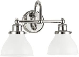 Capital Lighting Fixture Baxter 2-Light Vanity Fixture in Polished Nickel C8302PN128