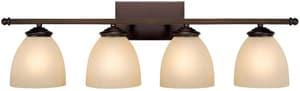 Capital Lighting Fixture Chapman 9 in. 100W 4-Light Vanity Fixture in Burnished Bronze with Mist Scavo Glass Shade C8404BB201