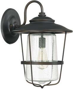 Capital Lighting Fixture Creekside 13 in. 100W 1-Light Medium E-26 Incandescent Wall Lantern in Old Bronze C9603
